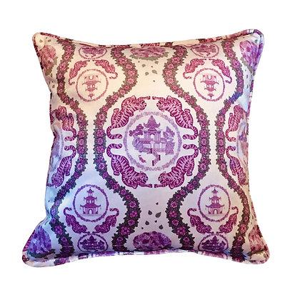 Tiger Chinoiserie Pink Velvet Cushion