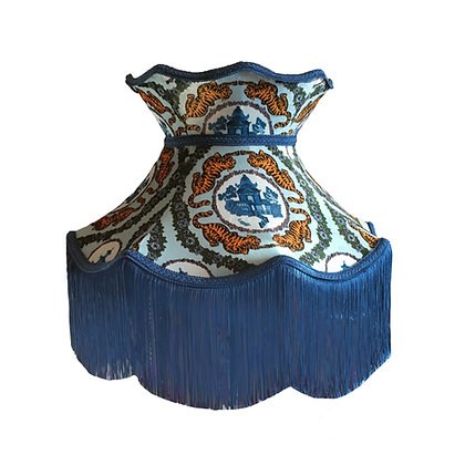 Tiger Chinoiserie Blue Velvet Crown Shade with Blue Fringe and Braid