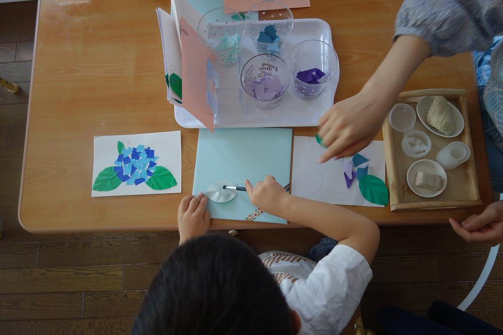 紫陽花 のり貼りお仕事