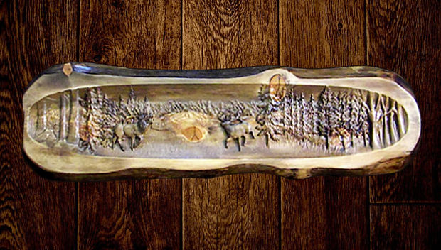 Bull Elk Wall Carving. Spend some time with your favorite big game every day with this stunning Bull Elk wall focal piece. Order in Ponderosa Pine or Douglas Fir. This particular plaque was a striking size at 58 x 16 x 2 inches, and was priced at $750 plus shipping.