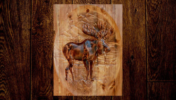 Our Bull Moose carving will make a statement whether hanging on your wall, carved into a gorgeous wooden door, or into a personalized welcome sign or coatrack. Perfect decor for your mountain hide-away or hunting lodge, or makes a wonderful customized gift. Choose your carving in Douglas Fir or Ponderosa Pine.