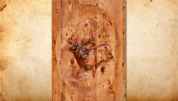 Nothing symbolizes the Rockies quite as much as the majestic bull elk bounding across a meadow with the rugged mountains as his backdrop. This gorgeous carving looks absolutely stunning on a door, a welcome sign, or wall hanging. Douglas Fir or Ponderosa Pine.
