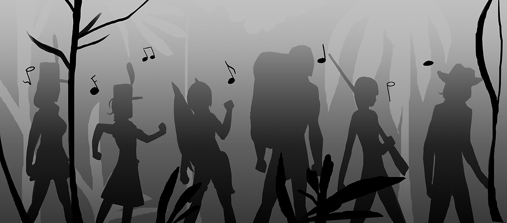 Silhouettes of the Irregulars travel through the dungeon a-whistling and a-singing.