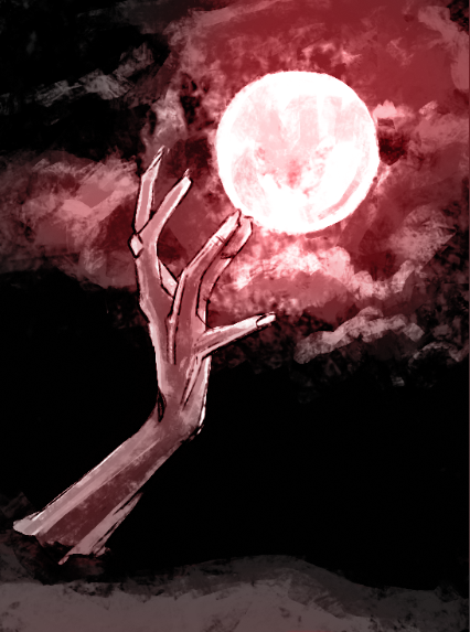 A skeletal hand grasps for the sky under the red light of a full moon.