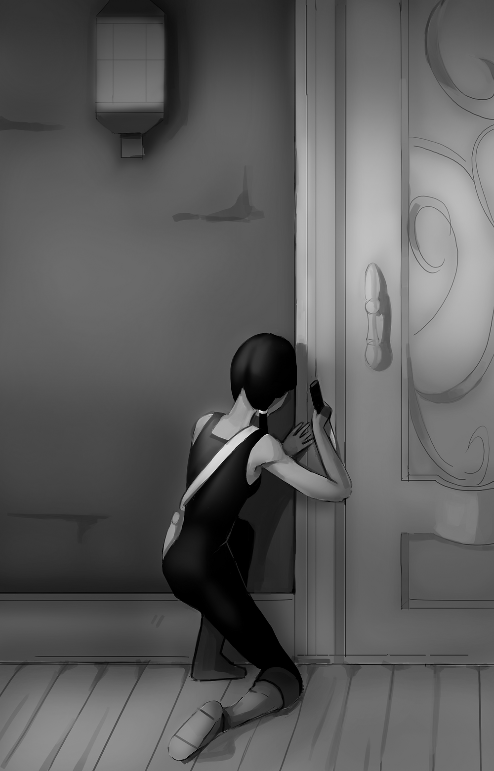 Polly uses a knife to remove a spell rune by a fancy-looking door.