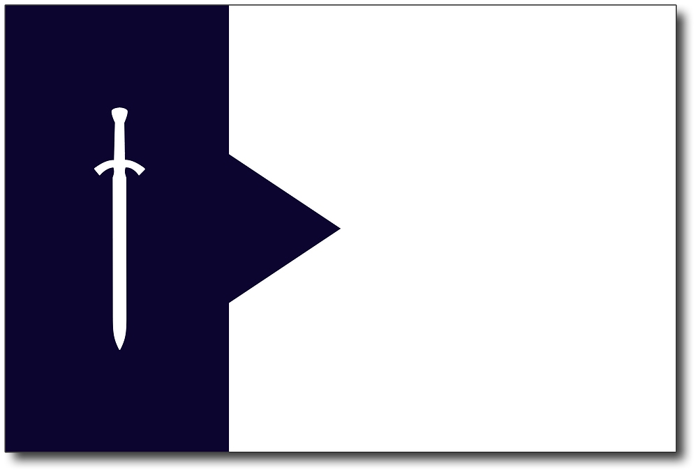 A 3:2 ratio flag (width:height, common real-world flag dimension). The left third of the flag is dark blue with a white silhouette of a European arming sword over it. The sword is pointed down. A large wedge of dark blue cuts into middle of the white field that makes up most of the remaining two-thirds of the flag.