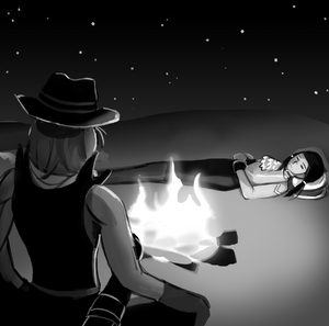 Camille watches Polly sleep by a campfire.