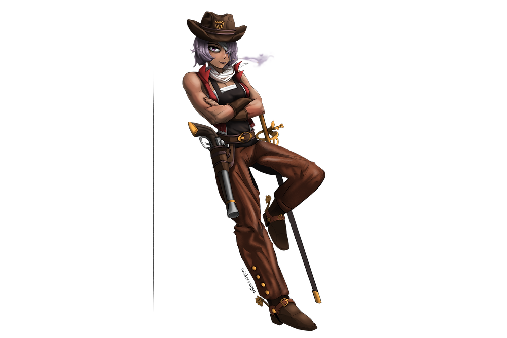 Muscular, dark-skinned cowgirl with purple hair covering one eye. Equipped with a carbine and a rapier.