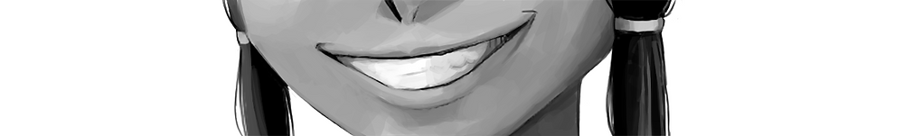 A close-up of Polly grinning evilly.