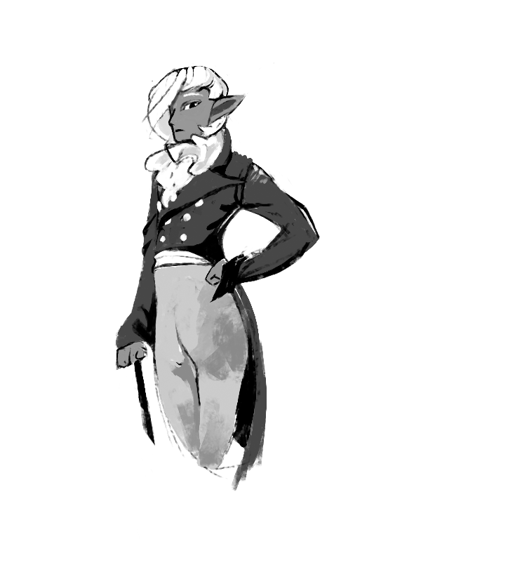 A white-haired, dark-skinned male with long, pointed ears, dressed in fine gentlemen's clothing. He has a detached grace to him.