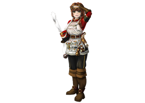 A somewhat overweight brunette woman, with pale skin and facial features reminiscent of East Asians in real life. She has her hair in a ponytail, and her uniform is covered by an apron laden in several alchemical vials.