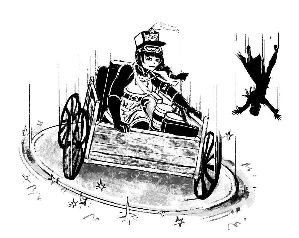 Mara Bloom and her wagon descending on a force disk while a man falls headfirst behind her.