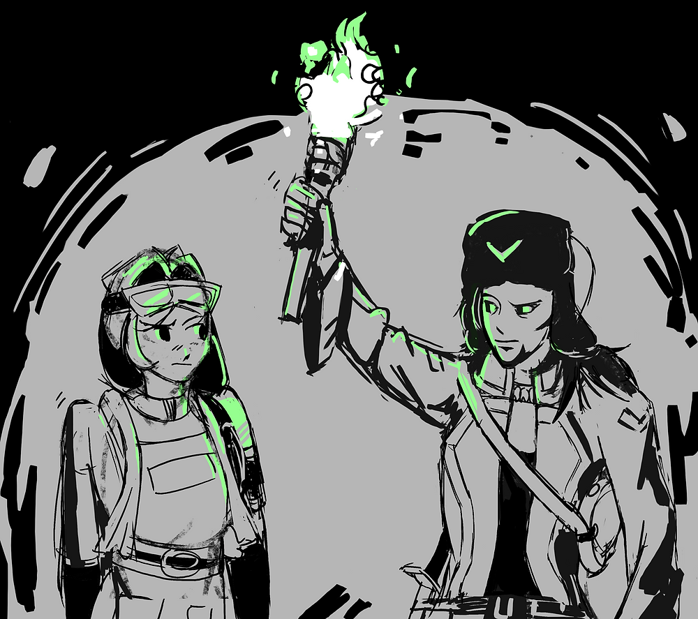 Mara and Gerry share a confused glance under the dim green light of a fadefire torch.