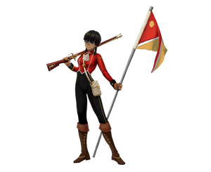 A somewhat short, slender woman. She has dark skin and facial features often associated (in the real world) with South Asia. She wears black dungarees and a red uniform top over that, has slung a rifle over one shoulder, and is holding a flag in another.
