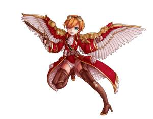 Green-eyed, strawberry blonde short boy in a frock coat, shorts, and thigh high boots. He wears a pair of mechanical wings and goggles, and has two pistols on him.