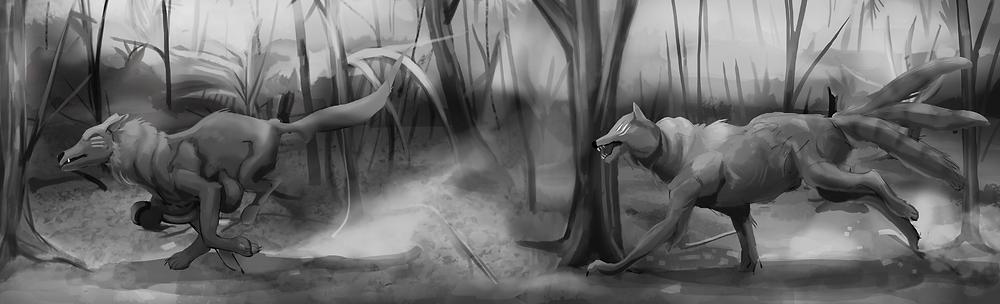 Two strange beasts running through the jungle.