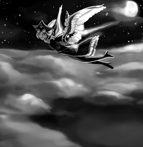 Knickers and Paddywhack soar over clouds in the night sky, a trail of rocketfire behind them.