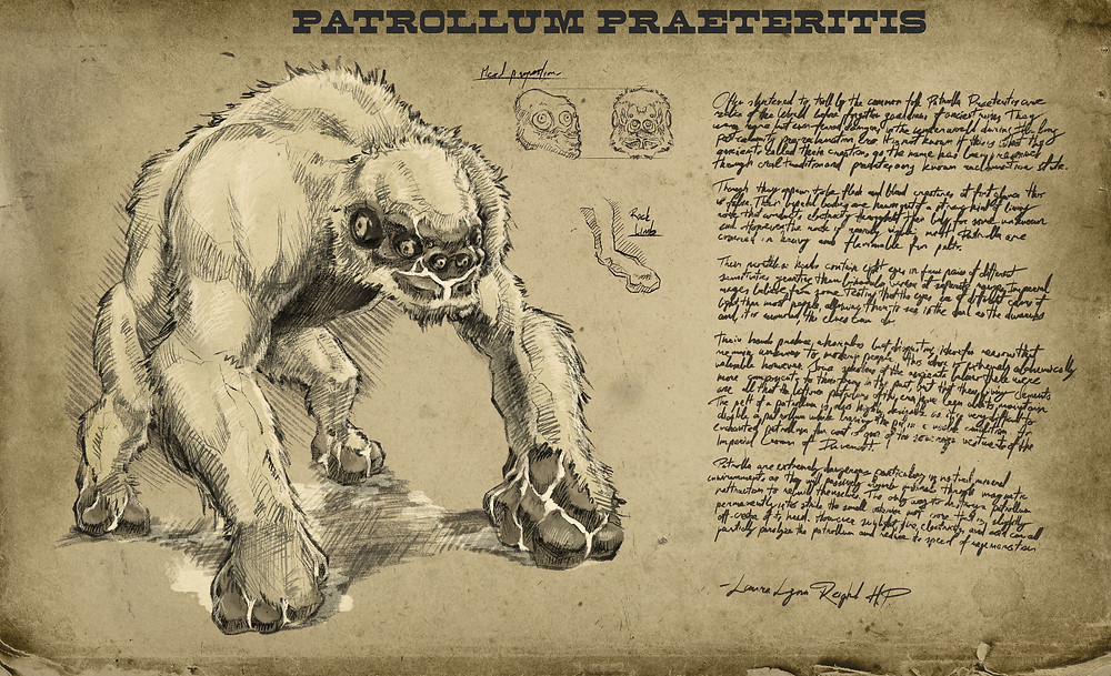 Depicts a six-eyed, ape-like monster on all four limbs, oozing with ichor. Journal entry transcribed below.