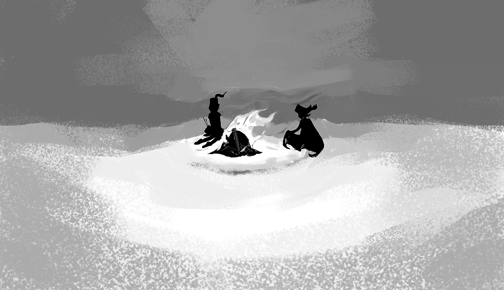 Two silhouettes sit near a fire in the distance.