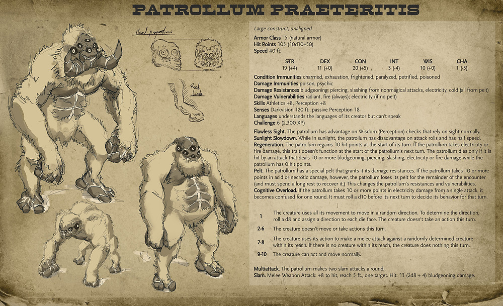 Depicts alternate sketches of the above monster. D&D statblock transcribed below.