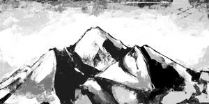 A snowy mountain vista.