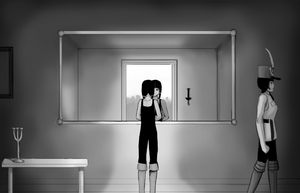 Polly stares into a grand entrance mirror while Mara walks off to the side.