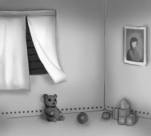 A child's bedroom, tightly shut against light.