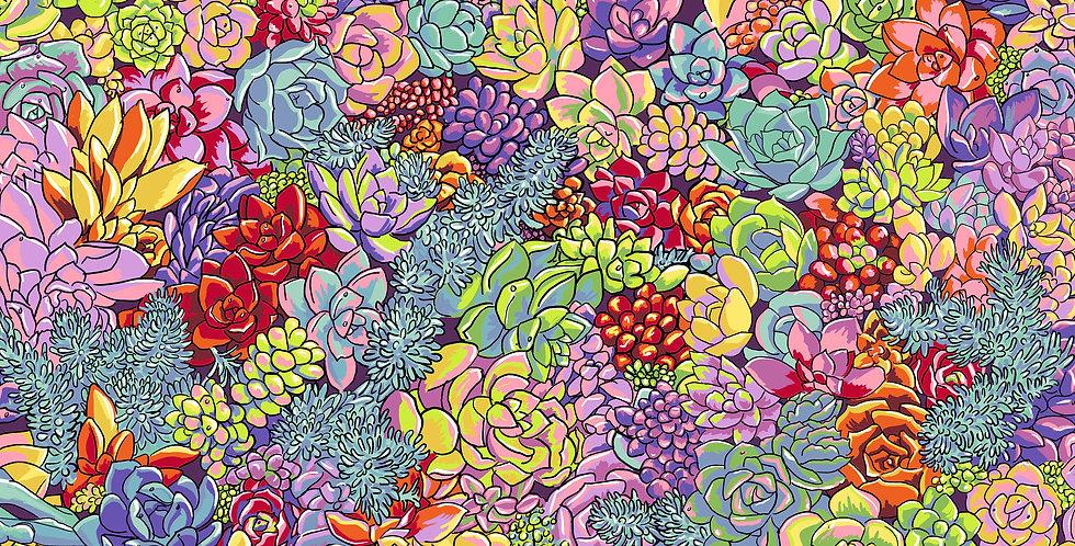 FreeSpirit Calico Horses by Lorraine Turner Succulent Surprise Fabric