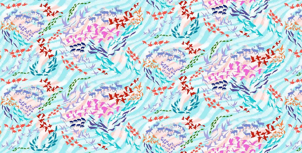 FreeSpirit Migration PWLT012.AQUA Migratory Map Lorraine Turner