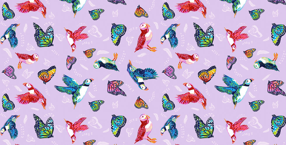 FreeSpirit Migration Friends In Flight PWLTO17 Lavender Lorraine Turner   Fabric