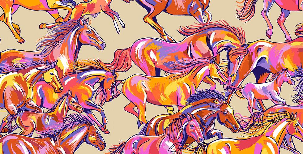 FreeSpirit Calico Horses by Lorraine Turner Range Runners Big Fabric
