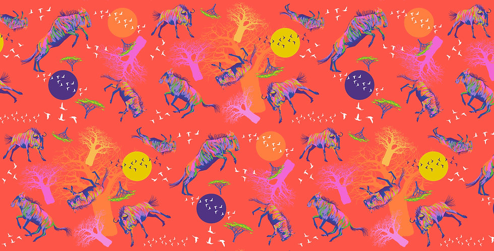 FreeSpirit Migration PWLT014 RED Wildebeests in Motion Lorraine Turner