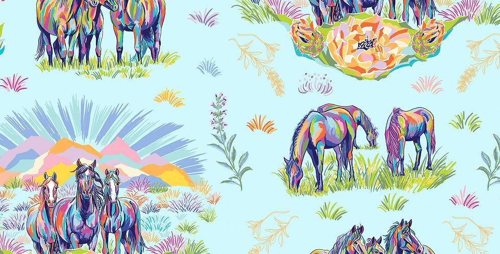 FreeSpirit Calico Horses by Lorraine Turner Calico Messengers Fabric Panel
