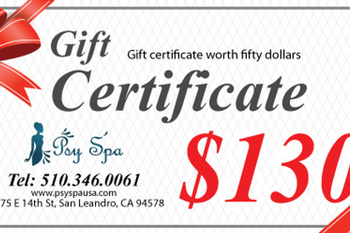 $130.00 Gift Certificate