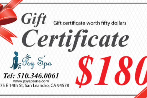 $180.00 Gift Certificate
