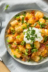 Spicy Homemade Loaded Taters Tots with C