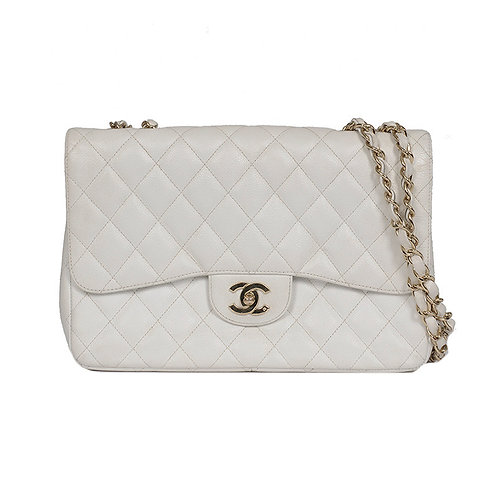CHANEL Jumbo Single Flap White Caviar Gold Hardware
