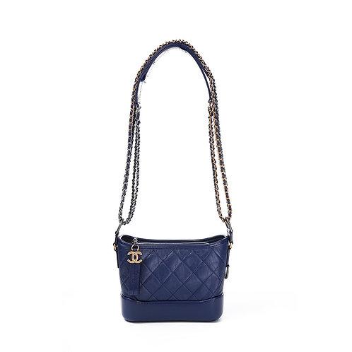 CHANEL Dark Blue Small Gabrielle Hobo Bag