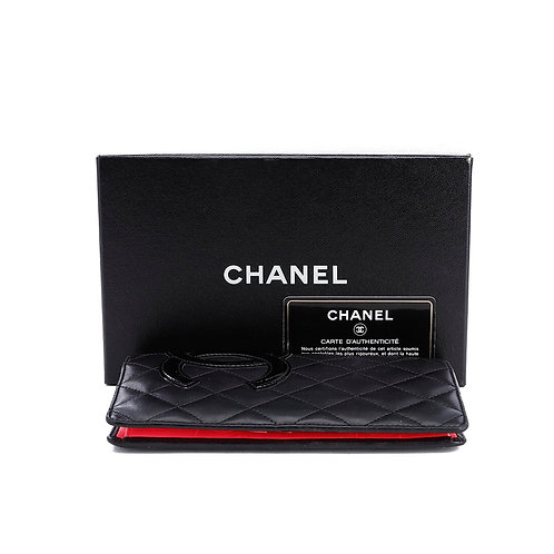 CHANEL Cambon Wallet Long Lambskin Bifold Wallet