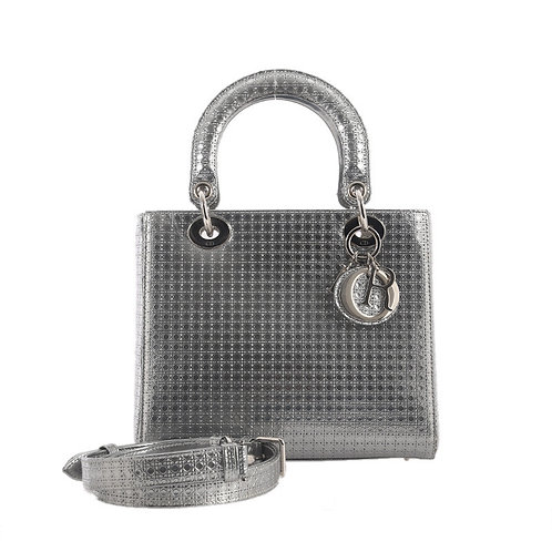CHRISTIAN DIOR Micro Cannage Silver Lady Dior Medium