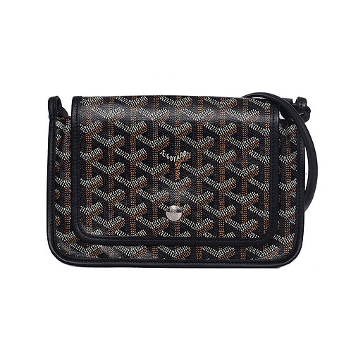 GOYARD Plumet Crossbody Bag Black Goyardine Canvas
