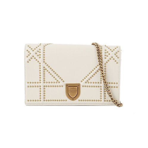 CHRISTIAN DIOR Diorama Studded Wallet on Chain