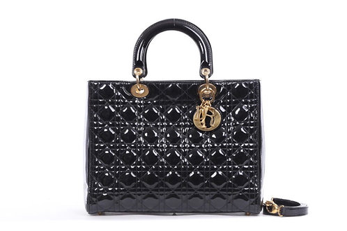 CHRISTIAN DIOR Black Cannage Quilted Patent Leather Large Lady Dior Bag
