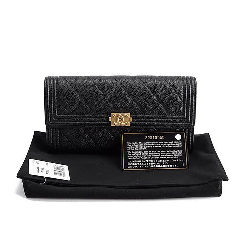 CHANEL Boy Long Flap Caviar Quilted Wallet