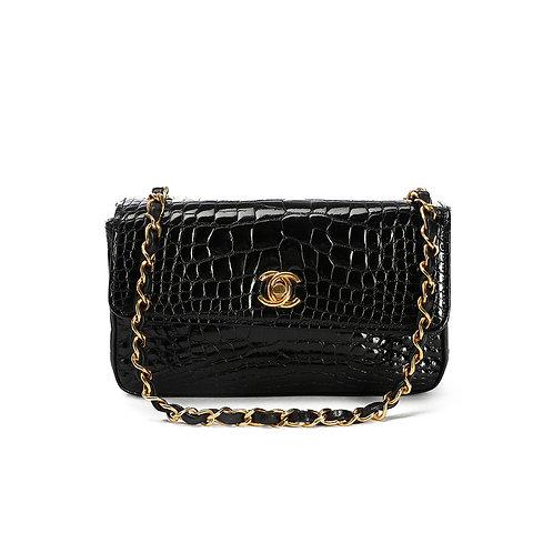 CHANEL Vintage Black Alligator Crocodile Flap Bag