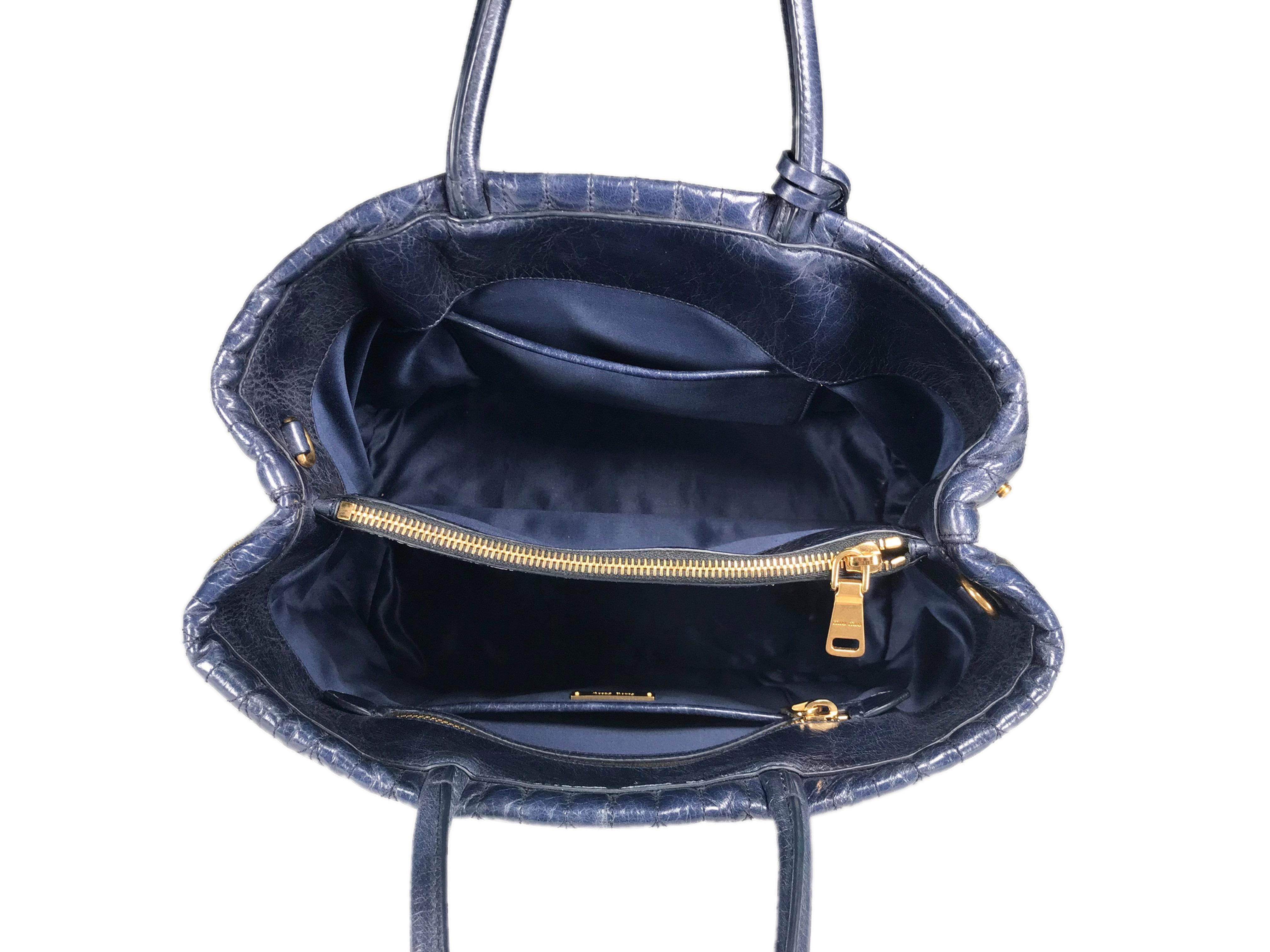 MIU MIU Vitello Shine Trapu Bluette Leather Top Handle Bag e7e2c2520070f