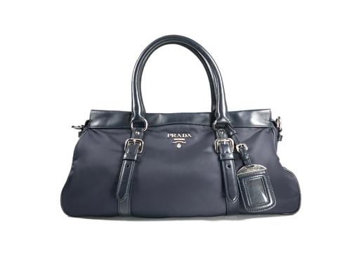 b25af8006d5d Authentic Preloved Prada Tessuto nylon   Soft Calf Bauletto Bag Bleu  (BN2032) with silver-tone hardware