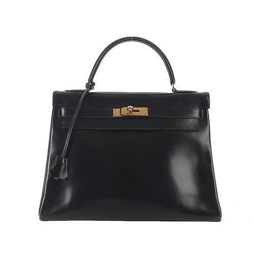 HERMÈS Black Box Leather Gold Plated Kelly 32 Retourne Bag