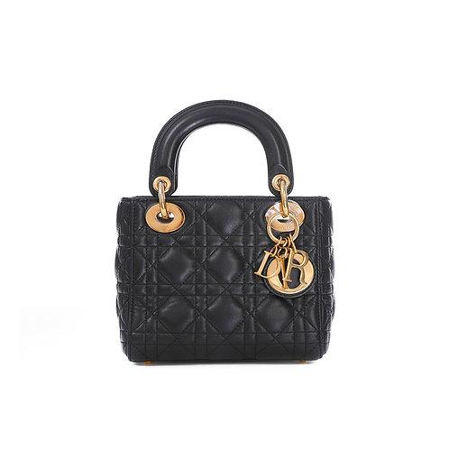 CHRISTIAN DIOR Black Lambskin Mini Lady Dior