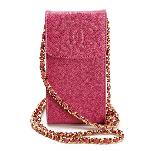 CHANEL Pink Caviar Leather Small Accessories Messenger Pouch